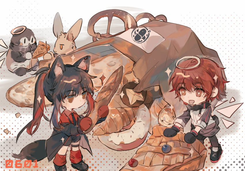 +_+ 2girls animal_ears apple_da-ze apple_pie arknights baguette bird black_footwear black_gloves black_hair black_jacket black_legwear black_neckwear black_shorts bread character_doll chibi commentary_request croissant detached_wings doughnut dress_shirt energy_wings exusiai_(arknights) food gloves halo highres holding holding_food jacket long_hair multicolored_hair multiple_girls necktie off_shoulder official_alternate_costume open_mouth oversized_food pantyhose penguin ponytail pretzel rabbit red_eyes red_gloves red_legwear red_shirt redhead shirt shoes shorts sparkle symbol_commentary tail texas_(arknights) texas_(willpower)_(arknights) thigh_strap two-tone_hair white_jacket wings wolf_ears wolf_girl wolf_tail yellow_eyes