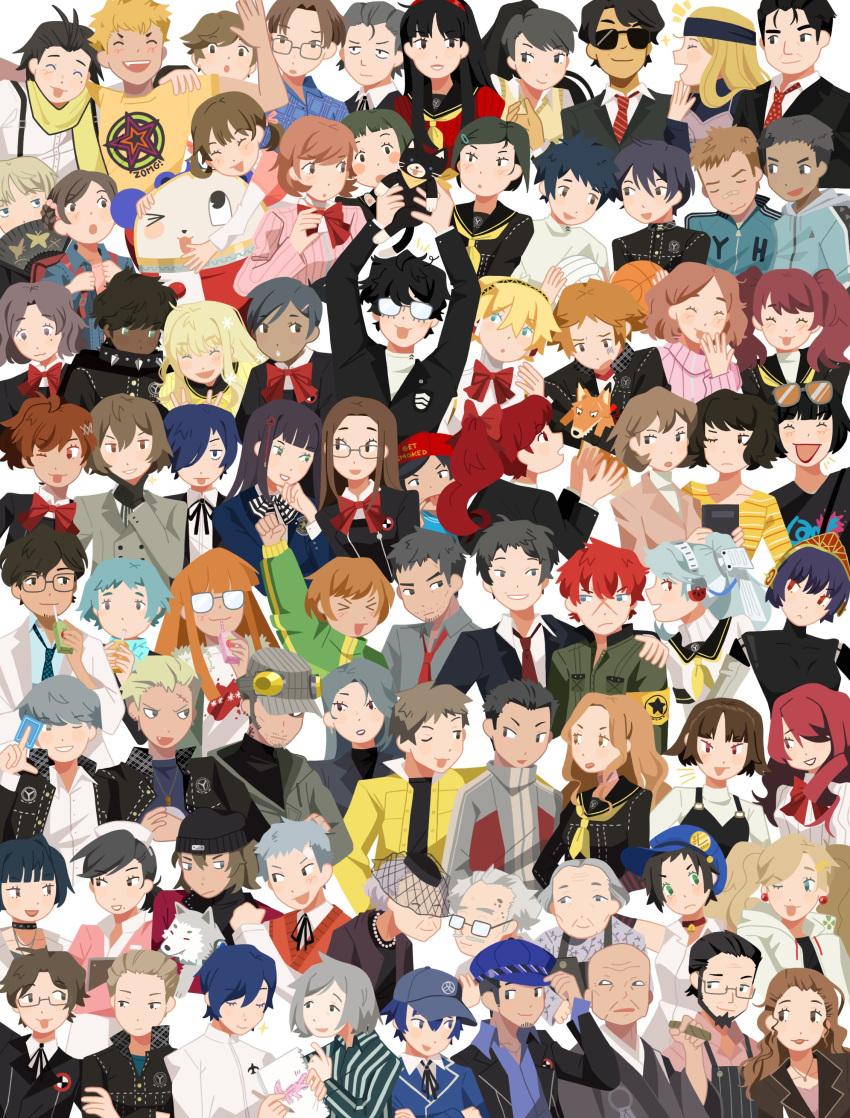 >_< >_o 6+boys 6+girls :3 absolutely_everyone absurdres aegis_(persona) akechi_gorou amada_ken amagi_yukiko amamiya_ren andre_roland_jean_gerard aragaki_shinjirou beanie black_hair blue_hair brown_hair bunkichi_(persona_3) cat character_request corsage dog doujima_nanako doujima_ryoutarou ebihara_ai everyone flower fushimi_chihiro gekkoukan_high_school_uniform glasses grey_hair hairband hanamura_yousuke hasegawa_saori hat hayase_mamoru highres hiraga_keisuke ichijou_kou ikutsuki_shuuji iori_junpei iwasaki_rio jacket kamiki_akinari kirijou_mitsuru kitagawa_yuusuke kitsune_(persona_4) konishi_naoki koromaru_(persona) kujikawa_rise kuma_(persona_4) kuroda_hisano labrys_(persona) looking_at_viewer marie_(persona_4) maruki_takuto matsunaga_ayane metis_(persona) minami_eri minazuki_sho mitsuko_(persona_3) miyamoto_kazushi mochizuki_ryouji morgana_(persona_5) moriyama_natsuki multiple_boys multiple_girls mutatsu_(persona) nagase_daisuke nakajima_shu narukami_yuu niijima_makoto nishiwaki_yuuko odagiri_hidetoshi okumura_haru one_eye_closed oohashi_maiko orange_hair ozawa_yumi persona persona_3 persona_3_portable persona_4 persona_4:_the_ultimate_in_mayonaka_arena persona_4:_the_ultimax_ultra_suplex_hold persona_4_the_golden persona_5 persona_5_the_royal persona_q:_shadow_of_the_labyrinth persona_q_(series) president_tanaka redhead rei_(persona_q) rose sailor_collar sakamoto_ryuuji sakura_futaba sanada_akihiko satonaka_chie school_uniform shiomi_kotone shirogane_naoto shuujin_academy_uniform silver_hair smile sodapeche suemitsu_nozomi takamaki_anne takeba_yukari tatsumi_kanji tomochika_kenji toriumi_isako uehara_sayoko yamagishi_fuuka yasogami_school_uniform yoshizawa_kasumi yuuki_makoto zen_(persona_q)