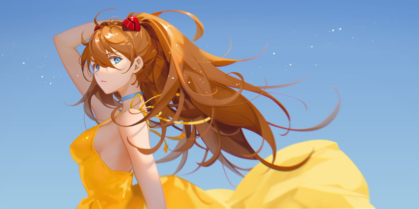 1girl ahoge blue_background blue_eyes choker dress eyebrows_visible_through_hair hair_ornament hairclip hand_in_hair highres light_particles looking_at_viewer neon_genesis_evangelion orange_hair parted_lips ribbon simple_background solo souryuu_asuka_langley sundress tidsean twintails yellow_dress