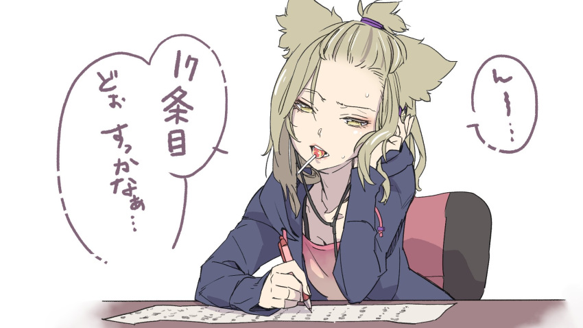 1girl adapted_costume alternate_hairstyle candy chair contemporary desk food glasses hair_flaps hand_in_hair headphones highres jacket kawayabug light_brown_hair lollipop long_sleeves pen shirt short_hair simple_background sitting solo speech_bubble sweat topknot touhou toyosatomimi_no_miko translation_request white_background writing yellow_eyes