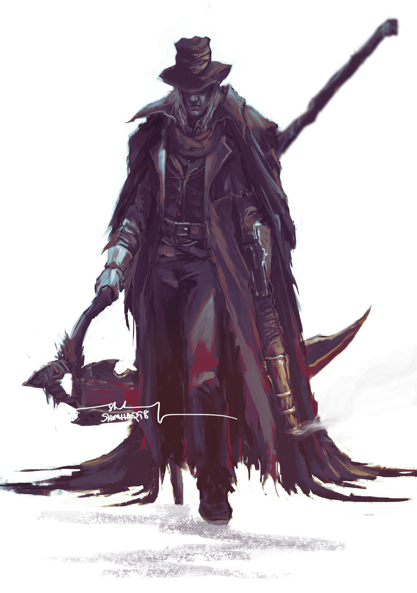1boy black_pants bloodborne brown_coat brown_headwear brown_vest closed_mouth coat covered_eyes facing_viewer full_body gehrman_the_first_hunter gun hat highres holding holding_gun holding_scythe holding_weapon male_focus pants peg_leg prosthesis prosthetic_leg scythe shimhaq simple_background smoke smoking_gun solo standing vest weapon white_background white_hair