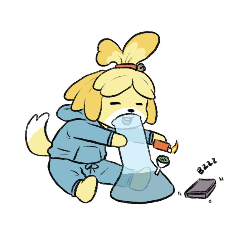 1girl :d animal_crossing animal_ears blue_jacket blue_shorts bong closed_eyes dog_ears dog_girl dog_tail drugs fire flame full_body furry highres hood hooded_jacket isabelle_(animal_crossing) jacket lighter long_sleeves marijuana motion_lines open_mouth phone shorts simple_background sitting smile smoking solo tail truffleduster white_background