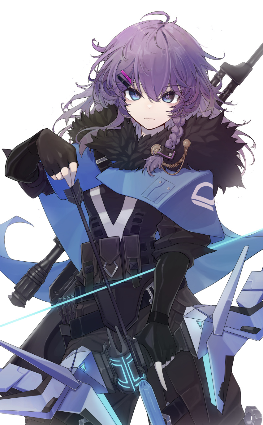1girl absurdres bangs black_bodysuit black_gloves blue_capelet blue_eyes bodysuit bow_(weapon) braid breasts capelet commentary cosplay eyebrows_visible_through_hair fur_trim gloves hair_ornament hairclip highres holding holding_bow_(weapon) holding_weapon looking_at_viewer nijisanji nijisanji_kr nun_bora purple_hair small_breasts solo sova_(valorant) sova_(valorant)_(cosplay) toga_(toganawa) valorant virtual_youtuber weapon weapon_on_back