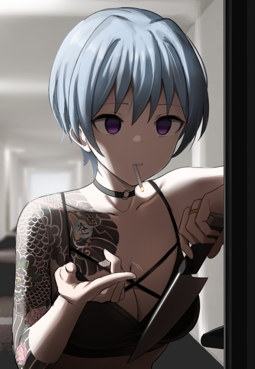 1girl absurdres bare_shoulders beckoning blue_hair choker cigarette commentary crop_top doorway empty_eyes english_commentary highres holding holding_knife indoors jewelry knife original ring shaded_face shengtian smoking solo tattoo upper_body yandere