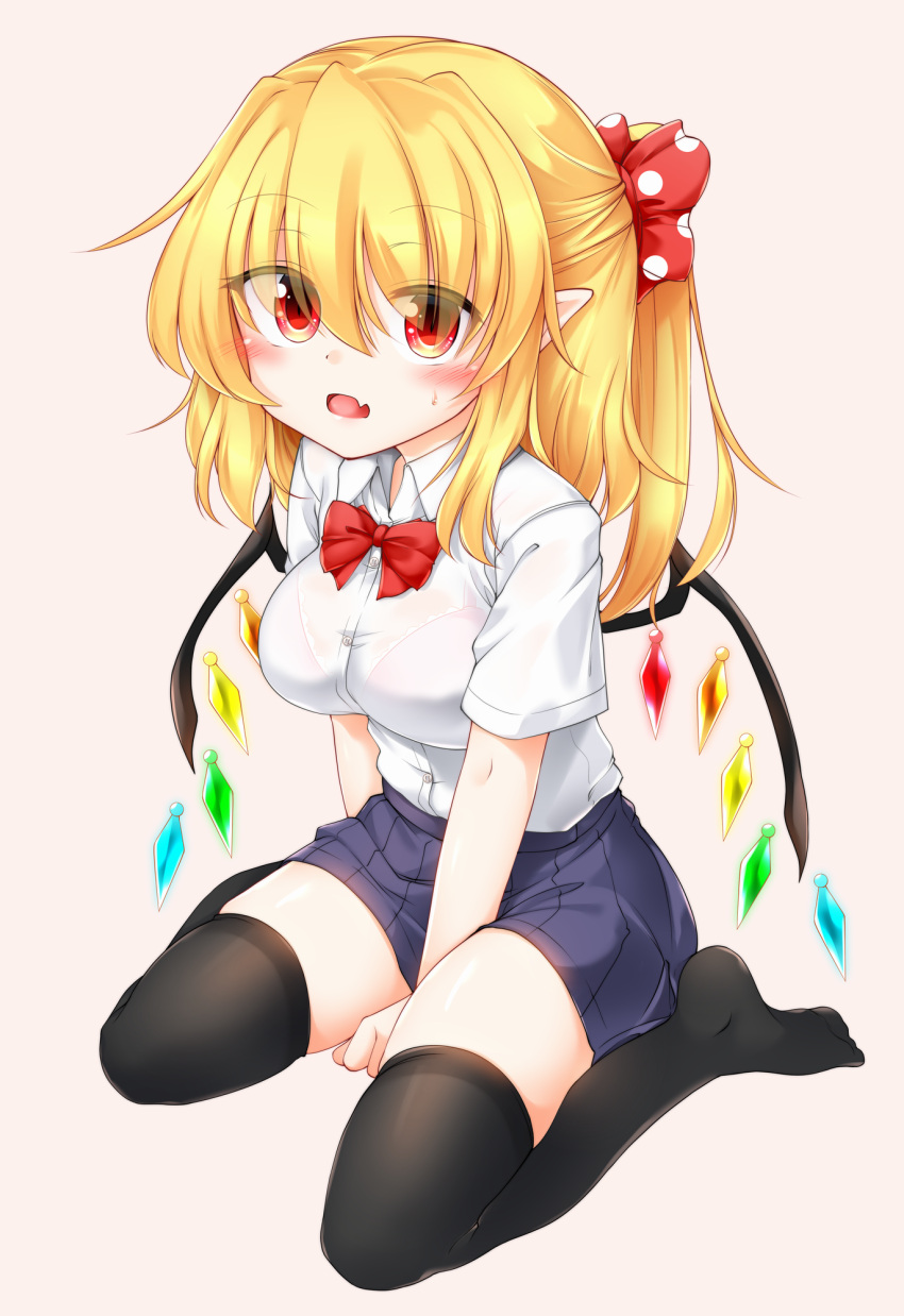 1girl bangs black_legwear blonde_hair blue_skirt blush bow bra bra_through_clothes bralines breasts buttons collar crystal eyebrows_visible_through_hair eyes_visible_through_hair flandre_scarlet hair_between_eyes highres looking_at_viewer marukyuu_ameya medium_breasts medium_hair multicolored multicolored_wings no_hat no_headwear no_shoes open_mouth pink_background pink_bra ponytail red_bow red_eyes red_neckwear school_uniform see-through seiza shirt short_sleeves simple_background sitting skirt solo thigh-highs touhou underwear wet wet_clothes wet_shirt white_collar white_shirt white_sleeves wings