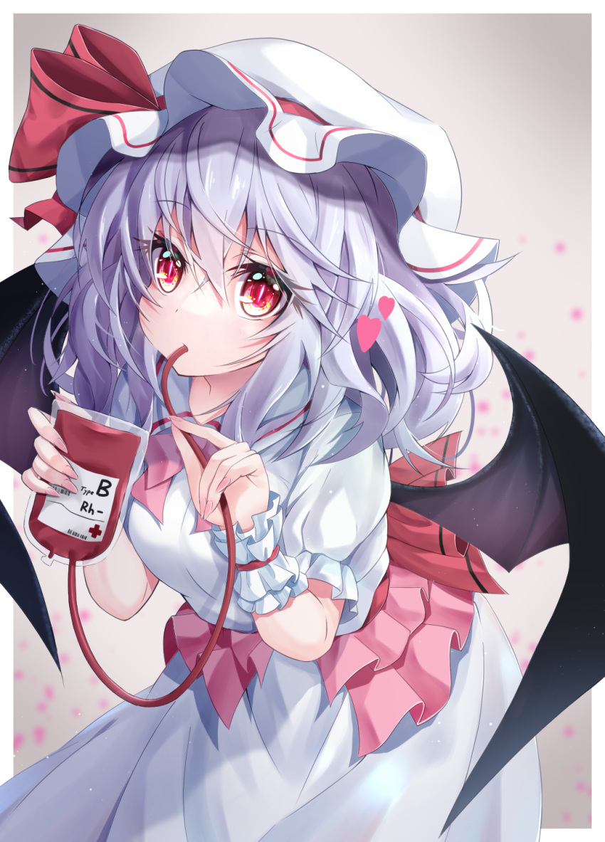 1girl armband bat_wings blood blood_bag blood_type bow dress drinking drinking_blood eyelashes frilled_armband frills hair_ribbon hat heart highres light_purple_hair looking_at_viewer mob_cap puffy_short_sleeves puffy_sleeves red_bow red_eyes red_ribbon remilia_scarlet ribbon ribbon_trim s_vileblood short_hair short_sleeves slit_pupils touhou white_dress wings