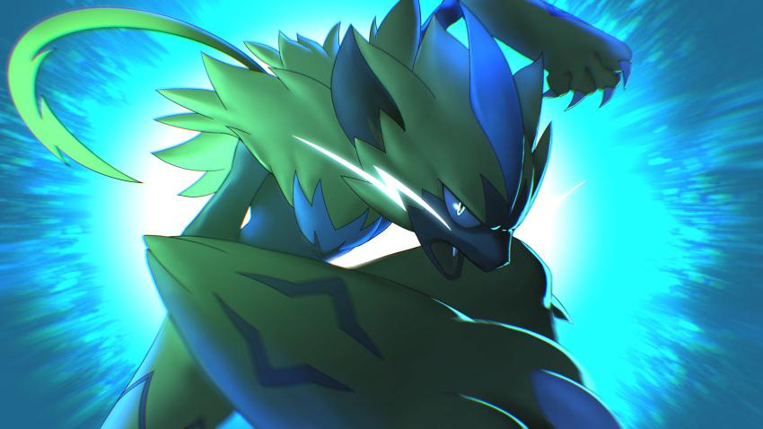 absurdres claws commentary fang furry gen_7_pokemon glowing glowing_eyes green_eyes higa-tsubasa highres mythical_pokemon open_mouth pokemon pokemon_(creature) solo tongue yellow_fur zeraora