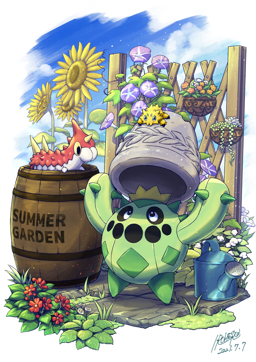 absurdres barrel black_eyes bright_pupils cacnea clouds commentary_request day fence flower flower_pot gen_3_pokemon gen_5_pokemon highres holding irohero joltik looking_up no_humans outdoors pokemon pokemon_(creature) red_flower sky sunflower watering_can white_pupils wurmple
