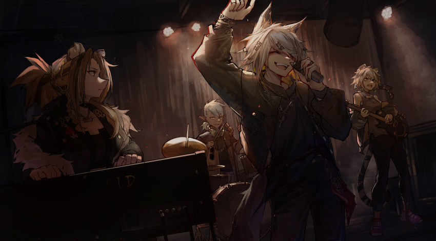 1boy 3girls ambience_synesthesia animal_ear_fluff animal_ears arknights bandaid bandaid_on_nose bangs black_choker black_jacket black_shirt black_tank_top blonde_hair blue_hair bracelet choker closed_eyes drum drum_set drumsticks earrings ethan_(arknights) fur-trimmed_jacket fur_trim guitar hair_ornament hands_up headphones headphones_around_neck highres holding indra_(arknights) instrument jacket jewelry lappland_(arknights) lion_ears long_hair looking_at_another microphone multiple_girls multiple_rings music necklace open_clothes open_jacket open_mouth piano playing_instrument pointy_ears qingfeng_canying red_footwear ring shirt siege_(arknights) singing stage stage_lights sunglasses tail tank_top tiger_ears tiger_tail wolf_ears wolf_tail yellow_eyes