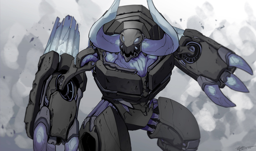 absurdres blue_eyes extra_eyes highres horns looking_ahead mecha no_humans open_hands open_mouth original science_fiction solo tajyador