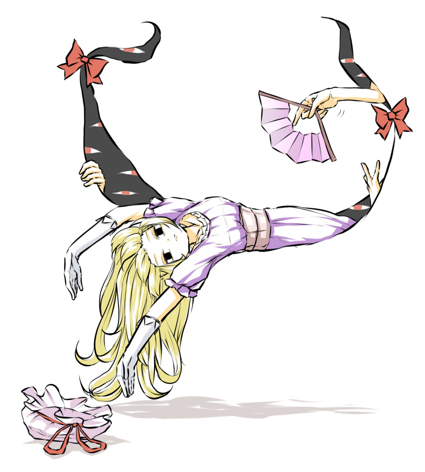 1girl 3others blonde_hair bow cropped_legs dress eyes fan fanning feet_out_of_frame gap_(touhou) hat hat_removed headwear_removed highres long_hair looking_at_viewer lying mob_cap multiple_others on_side outstretched_arms paper_fan peroponesosu. purple_dress touhou very_long_hair yakumo_yukari