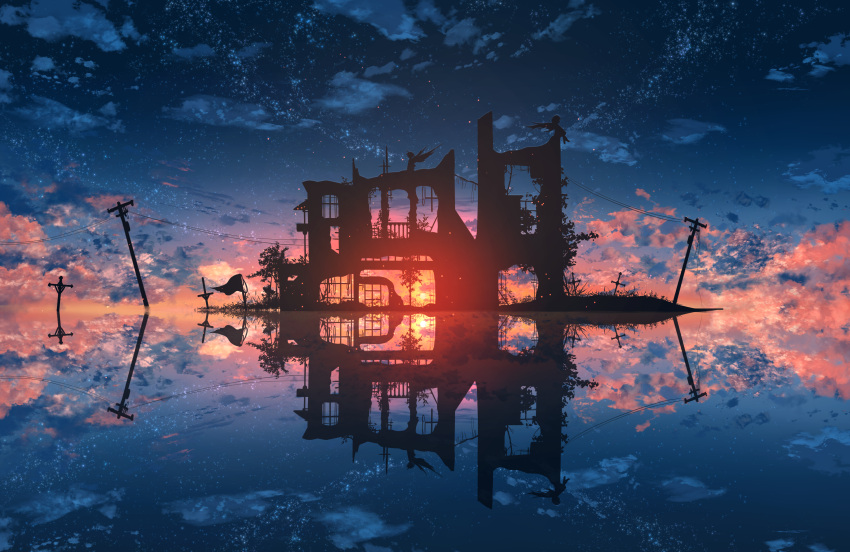 2others abisswalker8 architecture blue_sky clouds commentary cross dark_foreground highres island multiple_others original outdoors plant power_lines red_clouds reflection ruins scenery sky star_(sky) starry_sky sun sunlight sunset tree utility_pole water wings