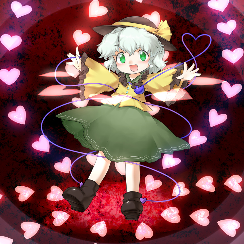 1girl arms_up bangs blush boots brown_footwear brown_headwear child commentary_request eyebrows_visible_through_hair flat_chest frilled_shirt_collar frilled_sleeves frills full_body green_eyes green_hair green_skirt happy hat hat_ribbon heart heart_background heart_of_string highres komeiji_koishi long_sleeves looking_at_viewer lotosu open_mouth outstretched_arms red_background ribbon shirt short_hair sidelocks skirt smile solo spread_arms standing third_eye touhou wavy_hair wide_sleeves yellow_ribbon yellow_shirt