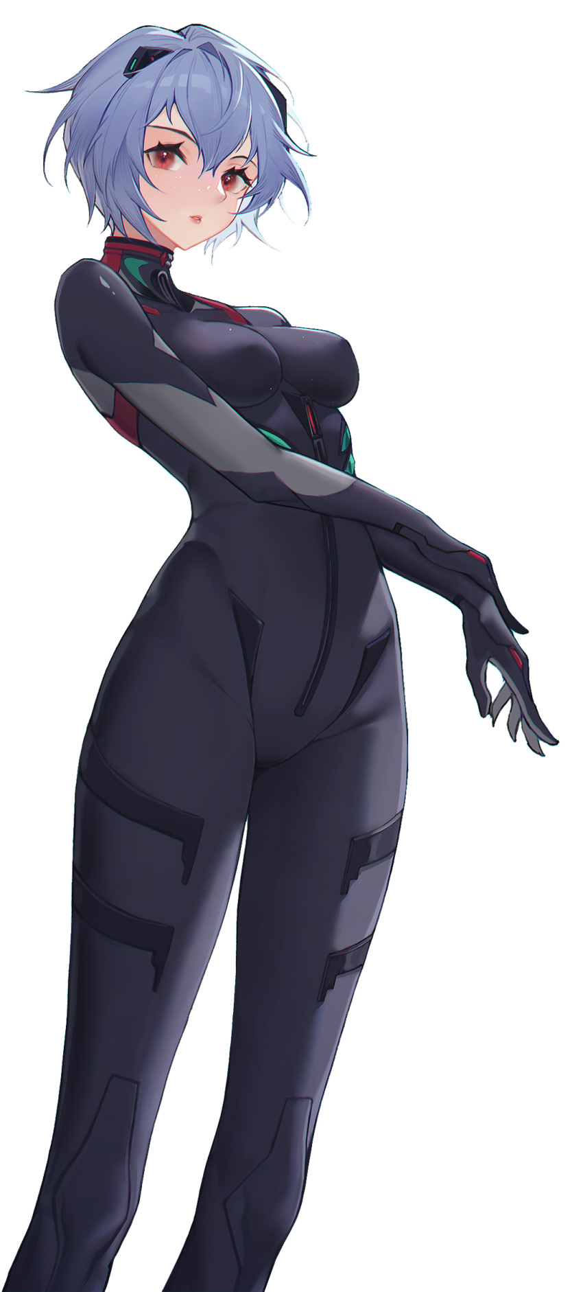 1girl ayanami_rei bangs black_bodysuit blue_hair bodysuit breasts commentary evangelion:_3.0_you_can_(not)_redo feet_out_of_frame highres interface_headset lips lis_zhu_long looking_at_viewer medium_breasts neon_genesis_evangelion parted_lips plugsuit rebuild_of_evangelion red_eyes short_hair simple_background skin_tight solo white_background