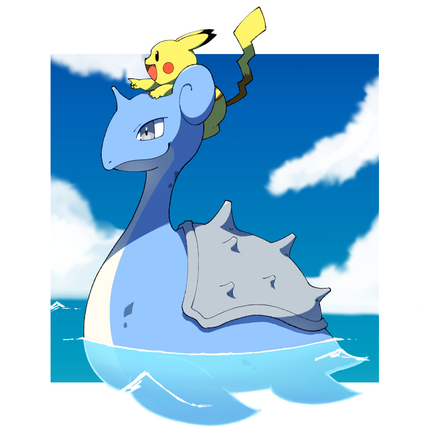 absurdres afloat border closed_mouth clouds commentary_request day from_side gen_1_pokemon grey_eyes highres lapras no_humans on_head outdoors outside_border pikachu pokemon pokemon_(creature) pokemon_on_head sasaki_sue sky smile water white_border