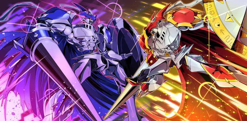 absurdres arm_blade chaosdukemon commission digimon digimon_(creature) digimon_tamers dukemon english_commentary fighting highres holding holding_shield lance mecha no_humans pillar_buster polearm red_eyes science_fiction shield shiny weapon yellow_eyes
