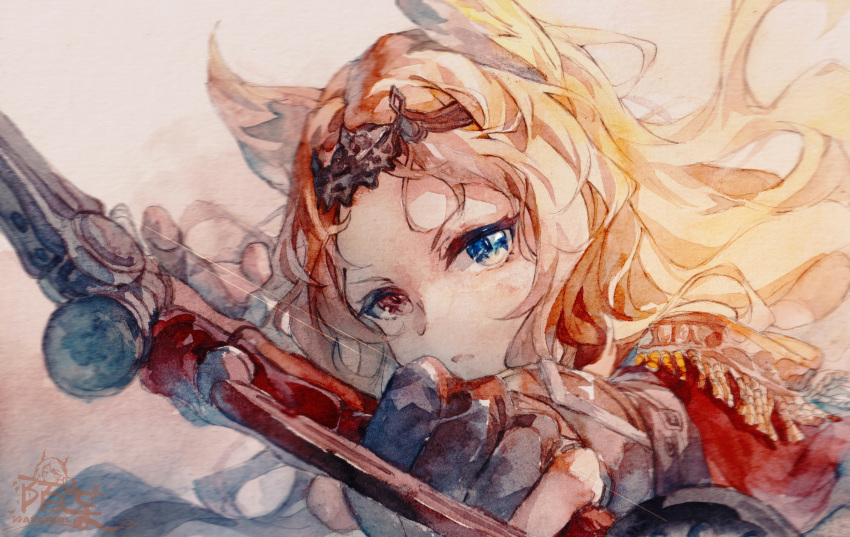 1girl absurdres aiming_at_viewer animal_ears archetto_(arknights) arknights artist_name black_gloves blonde_hair blue_eyes bow_(weapon) commentary gloves highres holding holding_bow_(weapon) holding_weapon huge_filesize long_hair moyu_marginal open_mouth portrait red_eyes solo tiara traditional_media watercolor_(medium) weapon