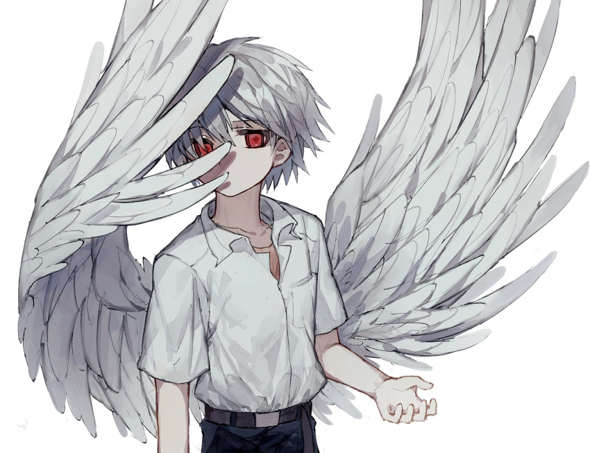 +_+ 1boy bangs black_pants collarbone collared_shirt commentary_request covered_mouth deep_(deep4946) eyebrows_visible_through_hair feathered_wings hair_between_eyes hand_up highres looking_at_viewer male_focus nagisa_kaworu neon_genesis_evangelion open_collar pants red_eyes school_uniform shirt shirt_tucked_in short_hair short_sleeves silver_hair simple_background solo upper_body white_background white_shirt wings
