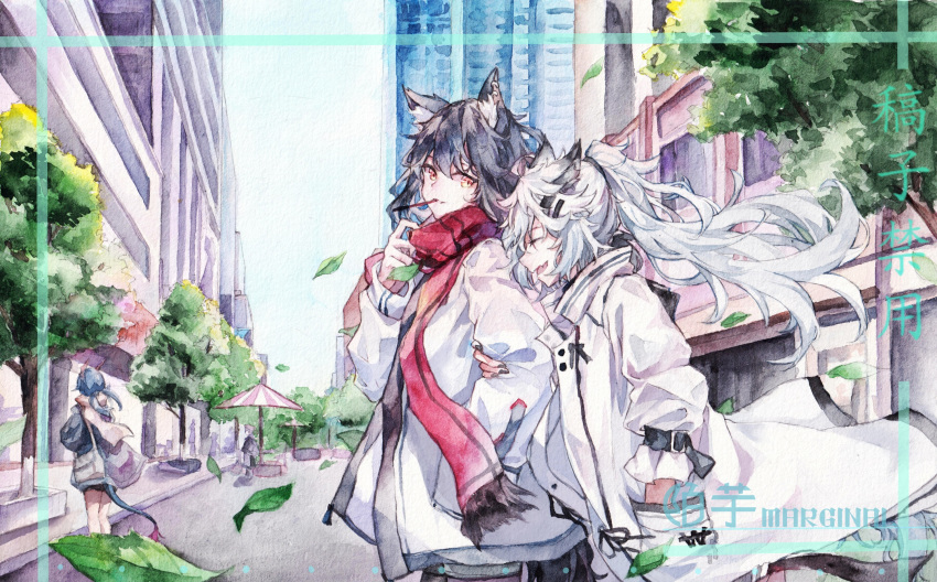 3girls animal_ears arknights black_hair blue_hair building ch'en_(arknights) city closed_eyes cowboy_shot dragon_girl dragon_horns dragon_tail ear_piercing eating falling_leaves fang food hair_ornament hairclip hand_in_pocket highres horns jacket lappland_(arknights) leaf locked_arms long_hair looking_at_viewer mouth_hold moyu_marginal multiple_girls open_mouth out_of_character outdoors piercing pocky ponytail red_scarf road scarf scenery skin_fang street tail texas_(arknights) tree twintails umbrella white_hair white_jacket wolf_ears yellow_eyes