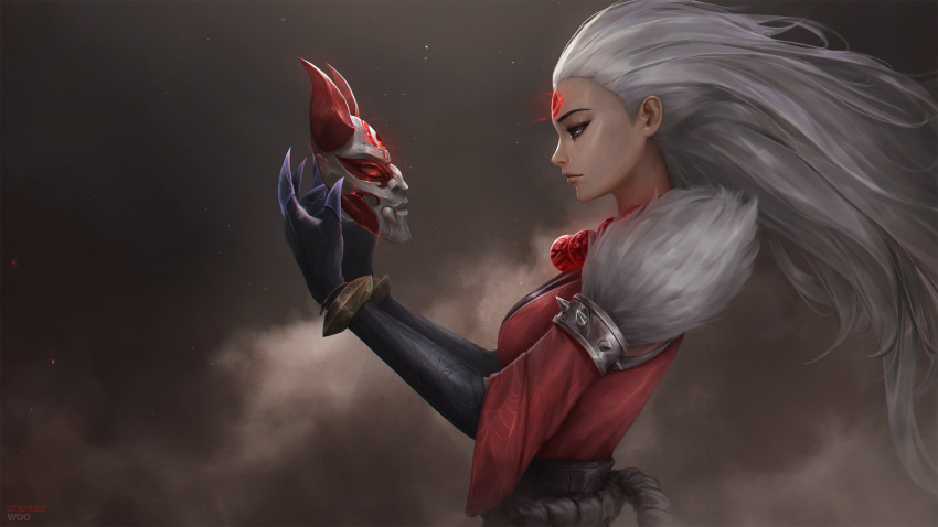 artist_name bead_necklace beads blood_moon_diana breasts claws diana_(league_of_legends) floating_hair from_side fur-trimmed_sleeves fur_trim gauntlets highres holding holding_mask horned_mask isaac_liew japanese_clothes jewelry league_of_legends lips long_hair mask mask_removed necklace profile red_eyes rope_belt spiked_armlet white_hair wrist_guards