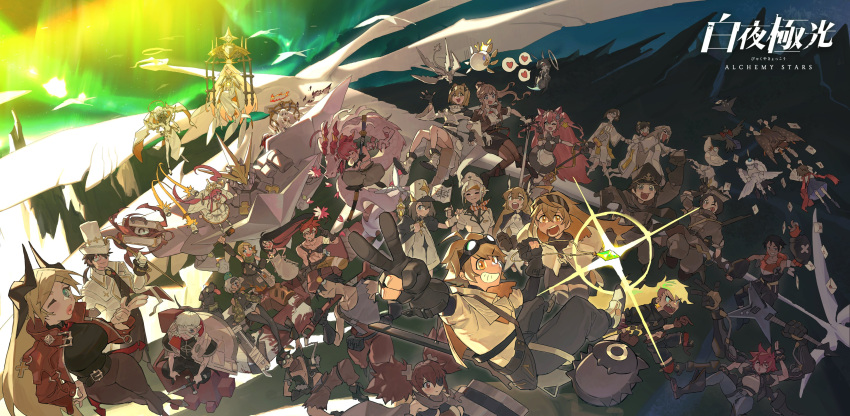 6+boys 6+girls absurdres ahoge alchemy_stars angel_(alchemy_stars) aurora bandage_over_one_eye bandages bandaid bandaid_on_face bangs bird black_dog black_gloves black_hair blonde_hair blue_eyes breasts brechpai brock_(alchemy_stars) brown_hair burnt_clothes cherry_blossoms chicken closed_mouth colored_inner_hair copyright_name crossed_arms crossed_legs dian_(alchemy_stars) dog dragon dragon_tail dress earrings eastern_dragon eve_(alchemy_stars) explosive eyepatch faust_(alchemy_stars) fingerless_gloves fire flag flying franz_(alchemy_stars) gabriel_(alchemy_stars) glasses gloves goggles goggles_on_head grenade grey_hair guitar hair_between_eyes hair_over_one_eye halo hat heart highres hiiro_(alchemy_stars) instrument jewelry joanie_boom_(alchemy_stars) jona_(alchemy_stars) kafka_(alchemy_stars) kara_(alchemy_stars) katana large_breasts logo long_hair mail mecha mechanical_arms michael_(alchemy_stars) microphone missile ms._blanc_(alchemy_stars) multicolored_hair multiple_boys multiple_girls nadine_(alchemy_stars) nails_(alchemy_stars) navigator_(alchemy_stars) necklace niel_(alchemy_stars) nose_bubble official_art one_eye_closed open_mouth oversized_object pantyhose pepi_(alchemy_stars) pierre_(alchemy_stars) pink_hair ponytail puckered_lips raphael_(alchemy_stars) red_eyes redhead regina_(alchemy_stars) sarashi sheath short_twintails sinsa_(alchemy_stars) sleeping smile soroz_(alchemy_stars) speech_bubble suitcase sword tail tiny_one_(alchemy_stars) torn_clothes twintails uriel_(alchemy_stars) v very_long_hair vice_(alchemy_stars) victoria_(alchemy_stars) vivian_(alchemy_stars) weapon wendy_(alchemy_stars) white_dress white_hair white_headwear wings wrench yellow_eyes