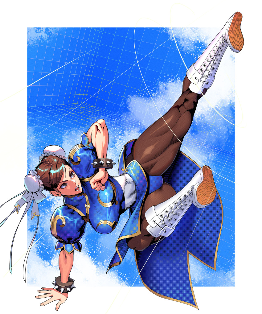 1girl absurdres bangs boots bracelet breasts brown_eyes brown_hair brown_legwear bun_cover china_dress chinese_clothes chun-li clenched_hand commentary_request cross-laced_footwear double_bun dress fingernails full_body hair_ornament highres jewelry kicking knee_boots lace-up_boots medium_breasts ogami open_mouth pantyhose pelvic_curtain puffy_short_sleeves puffy_sleeves shiny shiny_hair short_sleeves simple_background solo spiked_bracelet spikes street_fighter street_fighter_ii_(series) thick_thighs thighs tied_hair white_footwear