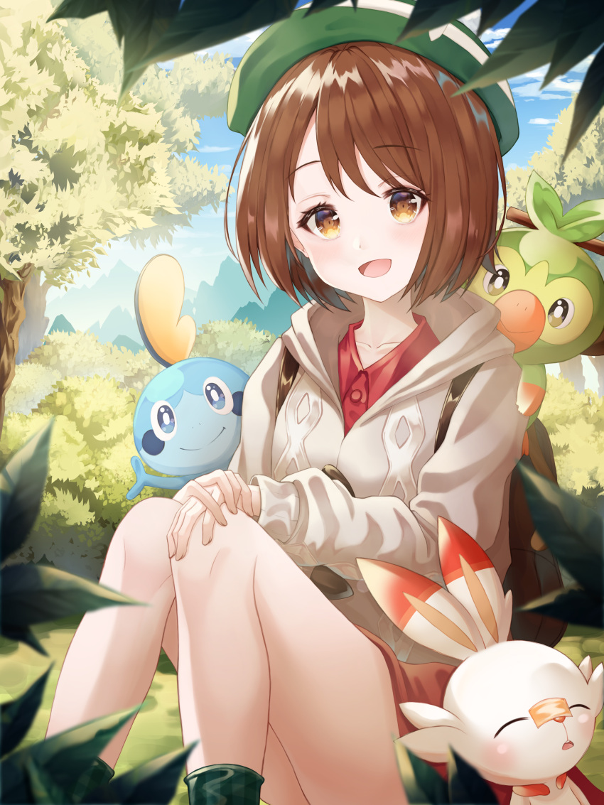 1girl absurdres backpack bag bangs beret brown_bag brown_eyes brown_hair bush collared_dress dress eyebrows_visible_through_hair forest gen_8_pokemon gloria_(pokemon) grass green_headwear grey_sweater grookey hands_on_own_knees hands_together hat highres huge_filesize legs looking_at_viewer nature on_grass on_shoulder open_mouth pokemon pokemon_(creature) pokemon_(game) pokemon_swsh red_dress scorbunny sitting sleeping sleeping_on_person smile sobble starter_pokemon_trio sweater tree yeolyeo