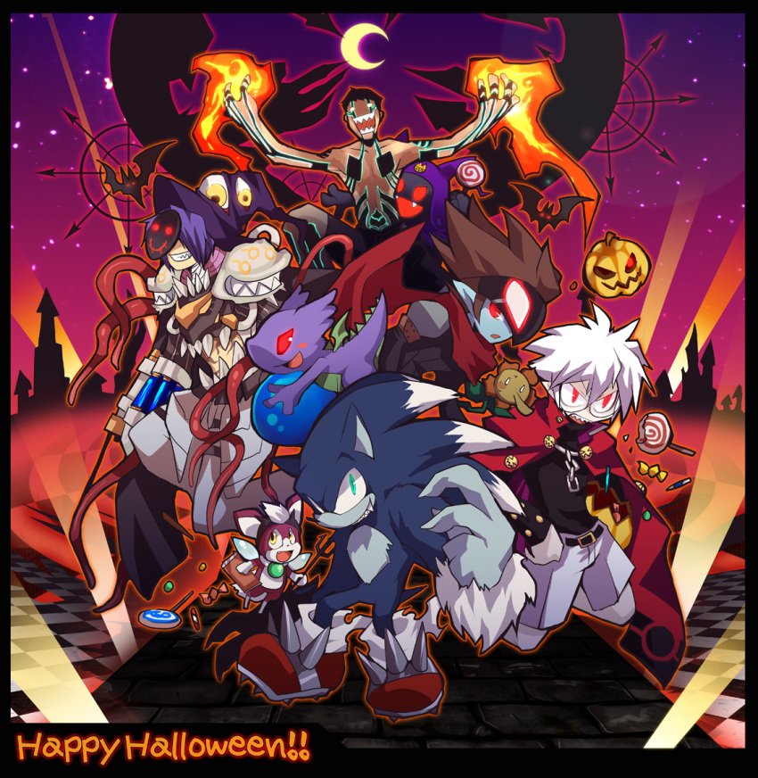 6+boys armor bangs bat black_border black_shirt bokura_no_taiyou border brown_hair candy chain character_request checkered checkered_floor closed_mouth commentary_request copyright_request crescent_moon crossover disgaea dragon_chronicle emon-yu fangs fire food full_body furry gauntlets genetic_(ragnarok_online) glasses green_eyes grin hair_between_eyes halloween happy_halloween hat hitoshura jack-o'-lantern jack_frost living_clothes lollipop looking_afar looking_at_viewer looking_to_the_side magic makai_senki_disgaea male_focus mask mask_on_head medium_hair moon multiple_boys multiple_crossover open_mouth otenko pauldrons pumpkin purple_headwear ragnarok_online red_eyes red_footwear sharp_teeth shin_megami_tensei shin_megami_tensei_iii:_nocturne shirt shirtless short_hair shorts shoulder_armor sky smile sonic_(series) sonic_the_hedgehog sonic_world_adventure star_(sky) starry_sky teeth vial white_hair white_shorts witch_hat wrapped_candy