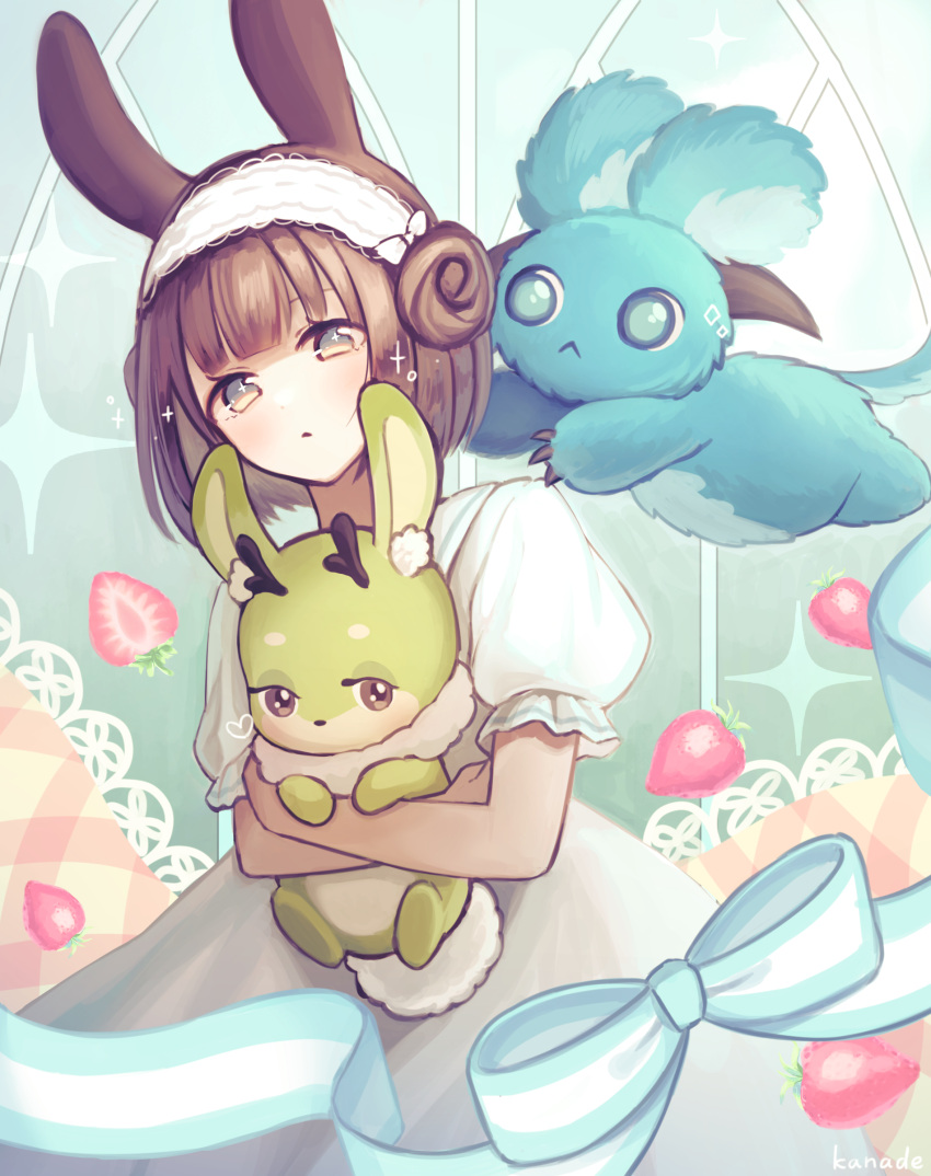 +_+ 1girl :< absurdres animal_ear_fluff animal_ears animal_hug antlers artist_name bangs blue_bow blue_eyes blunt_bangs bow brown_eyes brown_hair bunny_tail commentary_request cryptid double_bun eyebrows_behind_hair food fruit highres hug jackalope kuroneko13x livly_island looking_at_viewer open_mouth puffy_short_sleeves puffy_sleeves rabbit rabbit_ears short_hair short_sleeves solo sparkle strawberry striped striped_bow tail