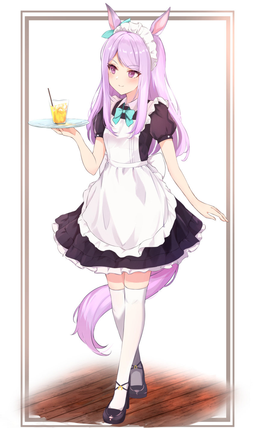 1girl absurdres alternate_costume animal_ears apron aqua_bow aqua_neckwear bangs black_dress black_footwear blush bow bowtie commentary cup dress drink enmaided eyebrows_visible_through_hair frilled_apron frilled_dress frills full_body hand_up highres holding holding_tray horse_ears horse_girl horse_tail long_hair looking_away maid maid_apron maid_headdress mejiro_mcqueen_(umamusume) puffy_short_sleeves puffy_sleeves purple_hair shoes short_sleeves simple_background sky_cappuccino smile solo standing swept_bangs tail thigh-highs tray umamusume violet_eyes white_apron white_legwear