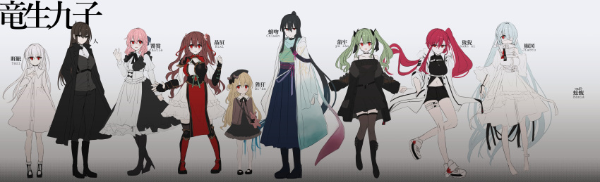 6+girls :d absurdres animal_bag apron bag bangs barefoot beret black_bow black_coat black_dress black_footwear black_gloves black_hakama black_headwear black_pants black_shorts blue_hair bobby_socks boots bow braid breasts brown_eyes brown_hair brown_legwear chihuri closed_mouth coat commentary_request dress eyebrows_visible_through_hair eyepatch fingerless_gloves gloves green_hair green_kimono grey_background grey_jacket grey_shirt hair_between_eyes hair_bow hair_over_one_eye hakama hand_in_pocket hand_up hat hat_bow high_heel_boots high_heels highres jacket japanese_clothes juliet_sleeves kimono long_hair long_sleeves looking_at_viewer medical_eyepatch medium_breasts multiple_girls navel obi off-shoulder_dress off_shoulder open_clothes open_coat open_jacket open_mouth original pants pantyhose parted_lips pelvic_curtain pink_hair puffy_sleeves red_eyes redhead sash shirt shoes short_shorts shorts shoulder_bag side_ponytail simple_background sleeves_past_wrists smile socks standing standing_on_one_leg thigh-highs translation_request twintails two_side_up very_long_hair white_apron white_dress white_hair white_legwear