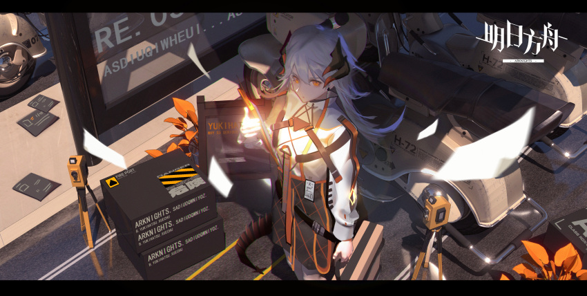 1girl 3d absurdres arknights bangs belt black_skirt box chest_strap clipboard closed_mouth commentary_request copyright_name day dragon_horns dragon_tail feet_out_of_frame from_above ground_vehicle hand_up highres holding holding_clipboard horns long_hair long_sleeves motor_vehicle orange_eyes outdoors papers partial_commentary plant road saria_(arknights) scooter shadow shirt silver_hair skirt solo standing street tail white_shirt xuechu