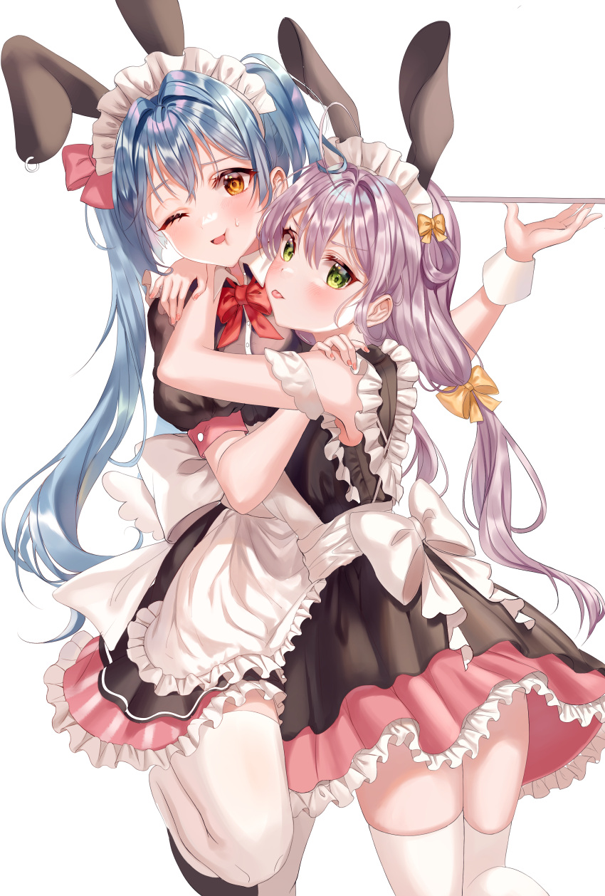 absurdres aina_156cm animal_ears apron bangs bare_shoulders black_dress blue_hair blush bow bowtie commentary_request dress fake_animal_ears frills green_eyes grey_hair highres holding holding_tray hug long_hair looking_at_viewer maid_apron maid_headdress one_eye_closed open_mouth orange_eyes original pink_bow pink_dress puffy_short_sleeves puffy_sleeves rabbit_ears red_bow shiny shiny_hair short_sleeves skindentation thigh-highs tongue tongue_out tray twintails white_bow white_legwear