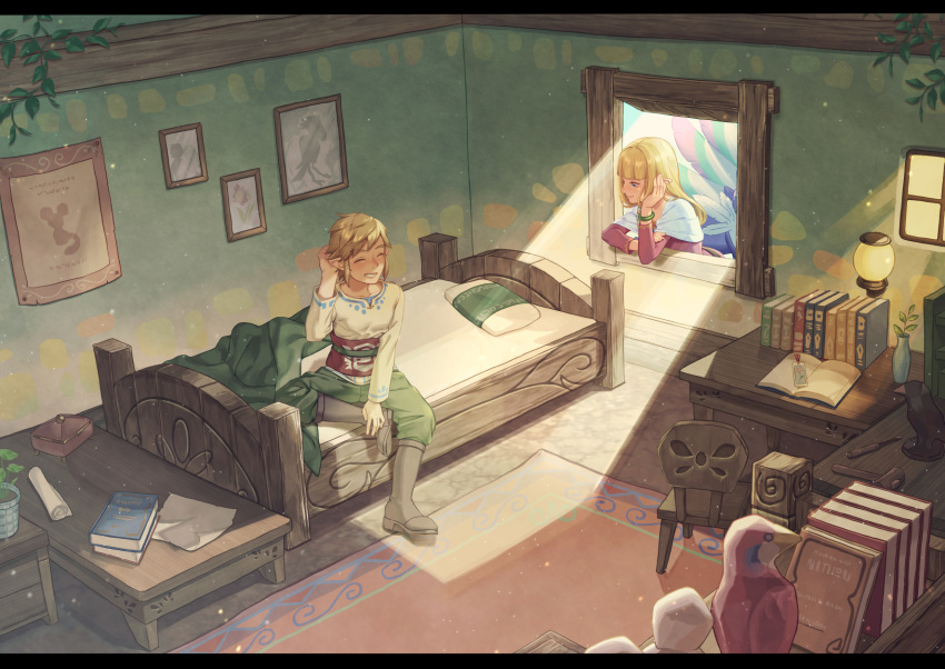 1boy 1girl bangs bed blonde_hair blunt_bangs boots closed_eyes desk highres lantern link loftwing looking_at_another pillow pointy_ears princess_zelda room smile sunlight suzuhiro table the_legend_of_zelda the_legend_of_zelda:_skyward_sword through_window window