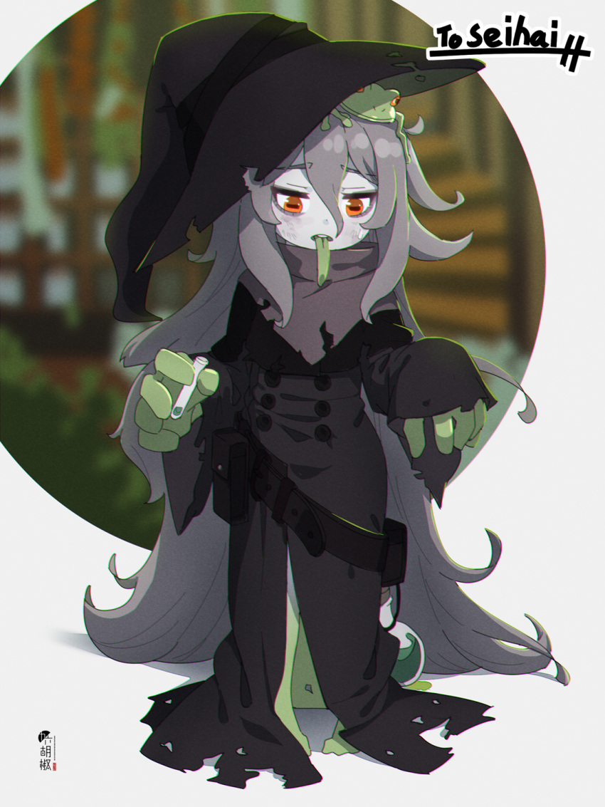 1girl animal_on_head bangs black_dress black_headwear brown_eyes colored_skin colored_tongue commentary commission dress eyebrows_visible_through_hair frog full_body green_skin green_tongue grey_hair grey_skin hair_between_eyes hat highres holding kuro_kosyou long_hair long_sleeves long_tongue on_head original skeb_commission sleeves_past_wrists solo standing tilted_headwear tongue tongue_out very_long_hair vial witch_hat