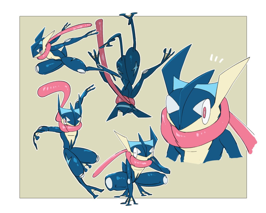 border bright_pupils closed_eyes commentary_request gen_6_pokemon greninja hand_up morio_(poke_orio) multiple_views notice_lines outline outside_border pink_eyes pokemon pokemon_(creature) shiny spread_legs squatting tongue white_border white_pupils