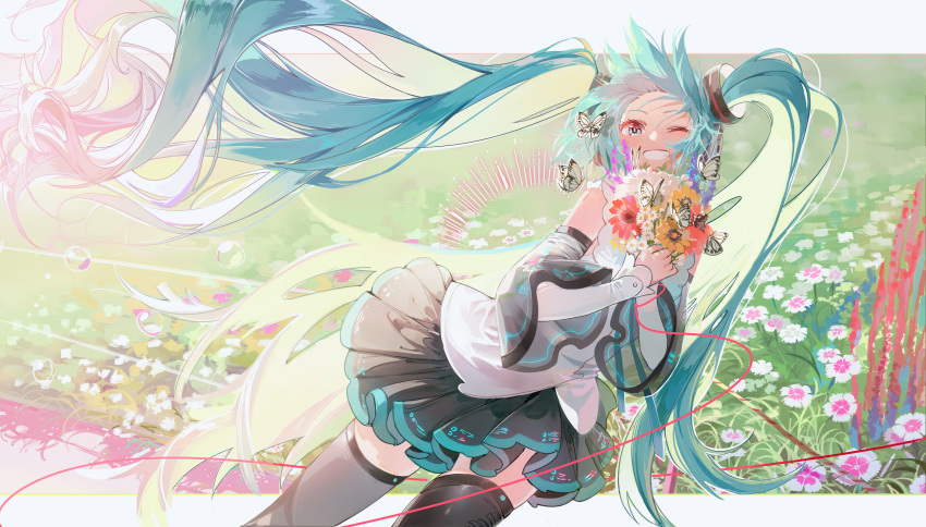1girl absurdres bare_shoulders black_legwear black_skirt blue_border blue_eyes blue_hair border bouquet bubble bug butterfly circle clenched_teeth cowboy_shot detached_sleeves dutch_angle eyelashes field floating_hair flower flower_field grass happy hatsune_miku hatsune_miku_(nt) highres huge_filesize insect light_particles long_hair looking_at_viewer messy_hair one_eye_closed orange_flower piapro pink_flower pleated_skirt purple_flower see-through_sleeves shiny shiny_hair shirt sidelighting skirt sleeveless sleeveless_shirt smile solo string stuko teeth thigh-highs twintails very_long_hair vocaloid white_butterfly white_flower white_shirt zettai_ryouiki