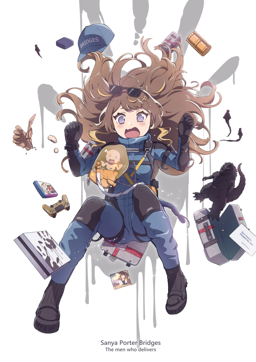 1girl anya_melfissa baby baseball_cap black_gloves blonde_hair blue_bodysuit blue_headwear blush bodysuit breasts brown_hair clenched_hands cosplay death_stranding falling figure floating_hair game_console gloves godzilla godzilla_(series) hat highres hololive hololive_indonesia medium_breasts minato_asuka multicolored_hair open_mouth playstation_4 playstation_controller sam_porter_bridges sam_porter_bridges_(cosplay) solo_focus streaked_hair sunglasses two_side_up virtual_youtuber