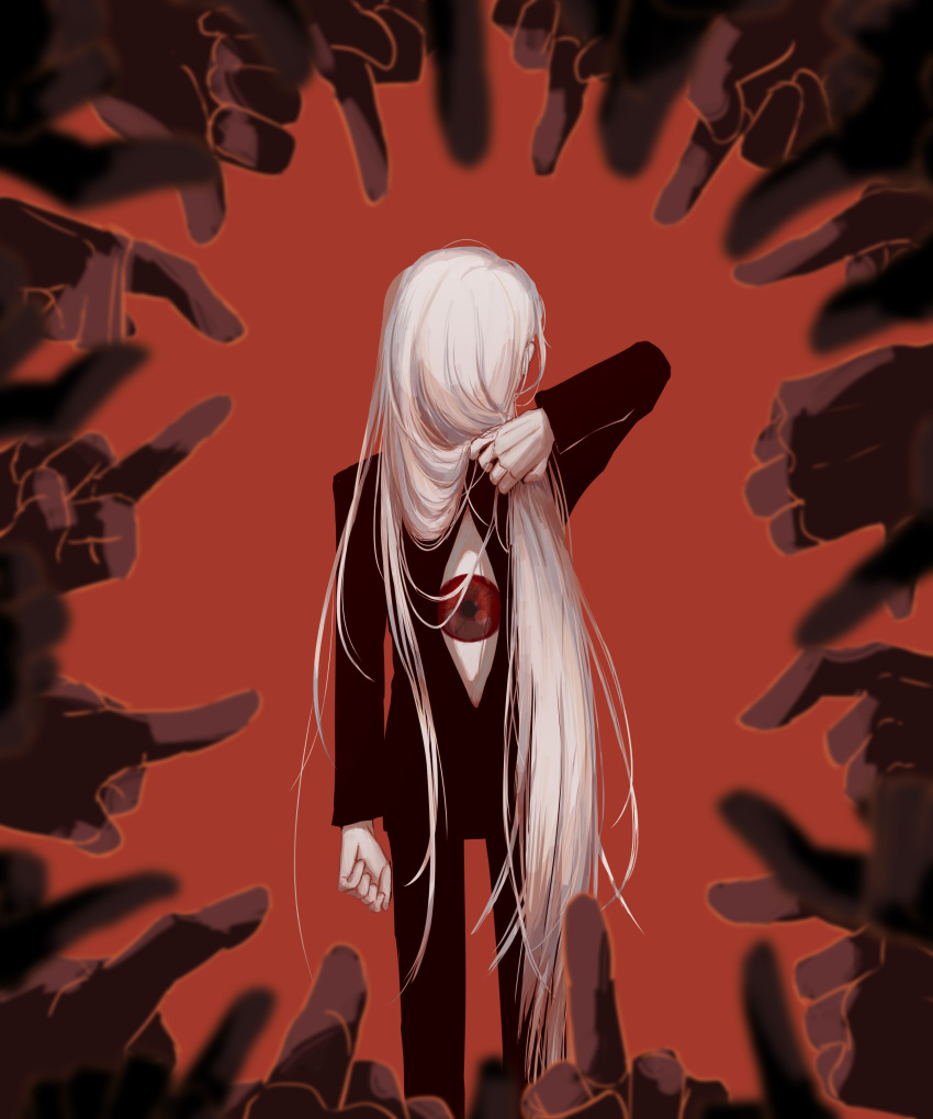 1other 6+others absurdres avogado6 black_pants black_shirt extra_eyes eye_focus facing_away from_behind highres holding holding_hair long_hair looking_at_viewer middle_finger multiple_others original pants pointing red_background red_eyes shirt simple_background solo_focus very_long_hair white_hair