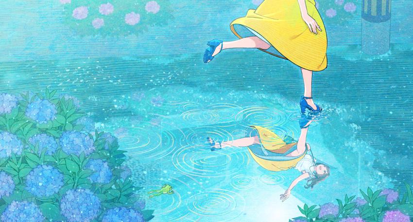 1girl blue_flower blue_footwear brown_hair flower high_heels hydrangea leaf long_hair nobile1031 open_mouth original plant purple_flower reflection shirt skirt smile solo toeless_footwear white_shirt yellow_skirt