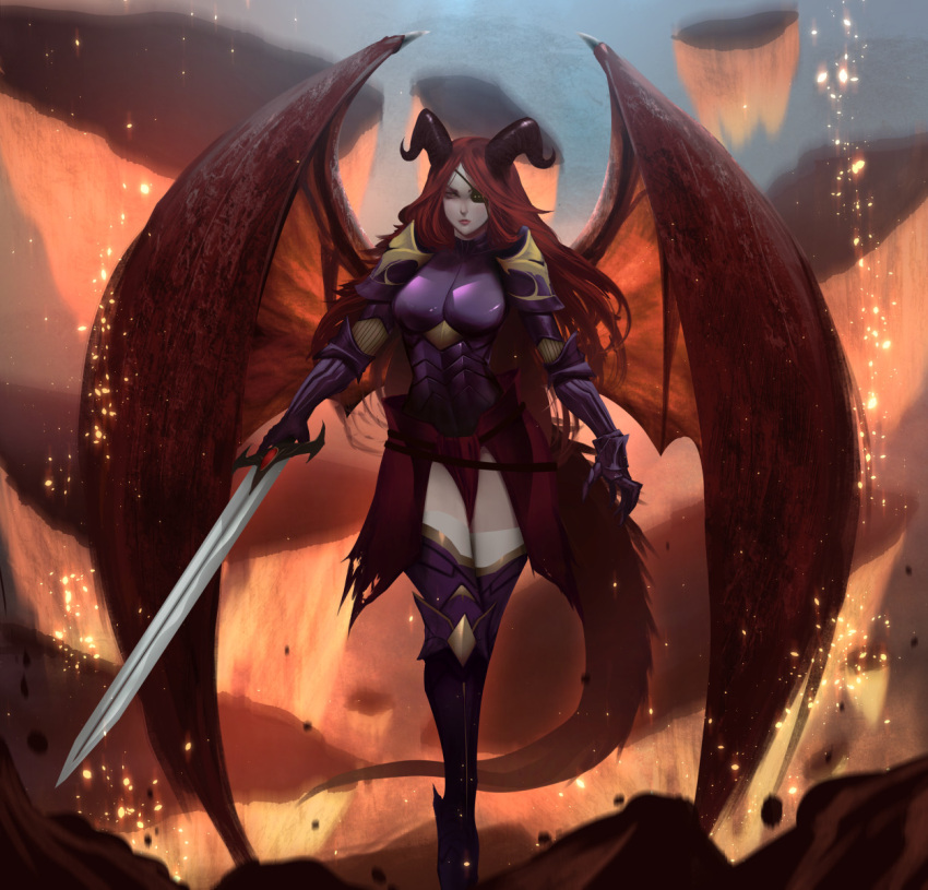 1girl armor belt black_eyepatch breastplate clawed_gauntlets closed_mouth commission dragon_girl dragon_horns dragon_wings embers eyepatch fantasy floating floating_rock gauntlets greaves highres holding holding_sword holding_weapon horns looking_at_viewer molten_rock original pauldrons purple_armor rock shoulder_armor solo sword tail thigh-highs torn torn_clothes uliel vambraces weapon white_legwear wings yellow_eyes