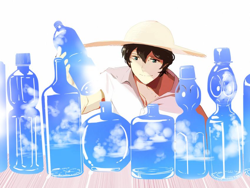1boy black_hair bottle chai clouds facial_hair hat holding holding_bottle original ramune short_hair simple_background smile solo stubble white_background