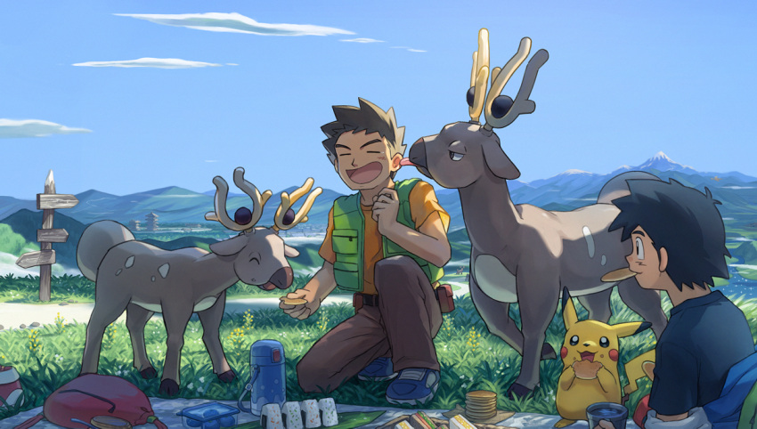 2boys ash_ketchum bag bag_removed black_hair black_shirt blanket blue_footwear brock_(pokemon) brown_hair brown_pants building closed_eyes clouds commentary_request day eating food gen_1_pokemon gen_2_pokemon grass green_vest guodon holding kneeling licking licking_ear male_focus mountain mouth_hold multiple_boys onigiri open_mouth orange_shirt outdoors pants picnic pikachu pokemon pokemon_(anime) pokemon_(classic_anime) pokemon_(creature) sandwich shirt shoes short_hair short_sleeves sign sky smile spiky_hair stantler t-shirt tearing_up thermos tongue vest  d