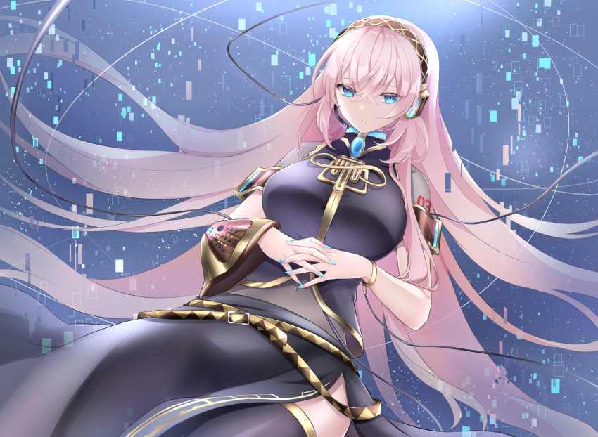 1girl arm_cuffs arm_tattoo belt blue_eyes blue_nails bracelet breasts cable commentary commission covered_navel floating_hair headphones headset highres jewelry kkr_rkgk large_breasts long_hair long_skirt looking_down megurine_luka microphone midriff number number_tattoo parted_lips pink_hair pixelated side_slit skeb_commission skirt sleeveless solo tattoo thigh-highs very_long_hair vocaloid