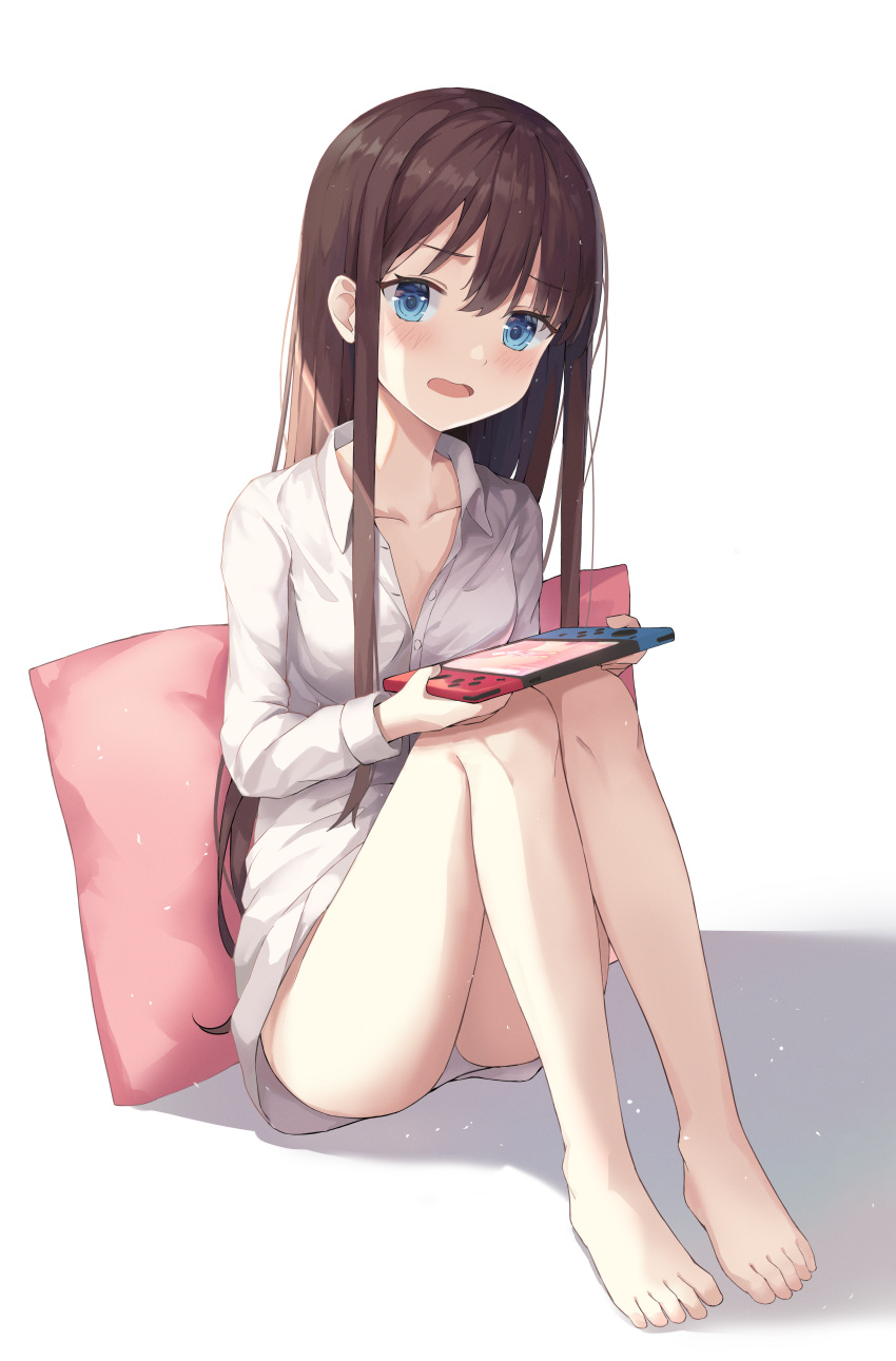 1girl absurdres bangs blue_eyes blush brown_hair collarbone collared_shirt controller highres holding holding_controller huge_filesize knees_up legs_together long_hair long_sleeves looking_at_viewer nintendo_switch open_mouth original panties pillow shirt simple_background sitting solo underwear white_background white_panties white_shirt x4snow