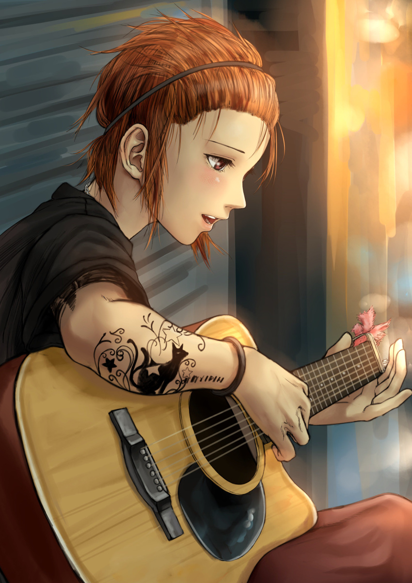 1girl :d absurdres acoustic_guitar arm_tattoo black_shirt blush bracelet brown_hair brown_pants commentary_request from_side guitar hairband headless_guitar highres holding holding_instrument instrument jewelry kirie_kairi music open_mouth original pants playing_instrument profile red_eyes shirt short_hair sitting smile solo tattoo