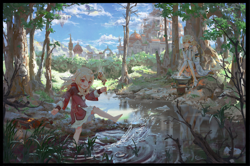 2girls :d ahoge alternate_hairstyle ayaxno backpack bag bag_charm bag_removed bangs barefoot bloomers blue_sky building cauldron charm_(object) clouds cloudy_sky coat commentary_request detached_sleeves dodoco_(genshin_impact) eyebrows_visible_through_hair fish forest genshin_impact hair_between_eyes hair_down head_rest highres holding hooded_coat in_water kicking klee_(genshin_impact) light_brown_hair long_hair long_sleeves looking_at_viewer lumine_(genshin_impact) multiple_girls nature no_gloves open_mouth pocket pointy_ears randoseru red_coat river scarf scenery short_hair short_hair_with_long_locks sidelocks sitting sky skyscraper smile stove tree underwear vision_(genshin_impact) white_scarf