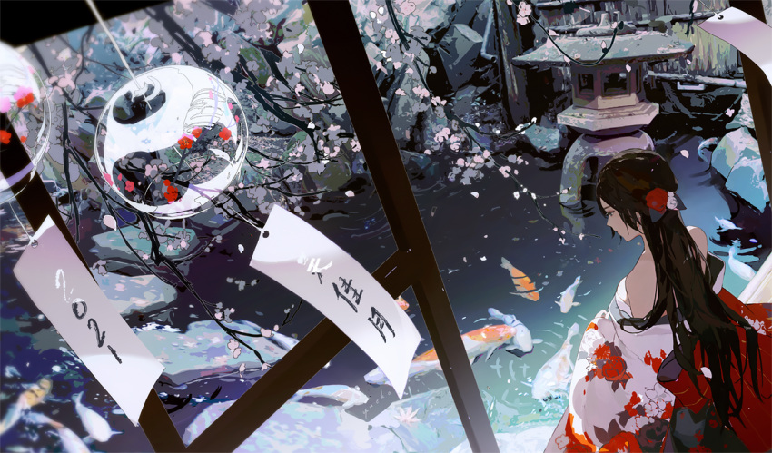 1girl bare_shoulders black_eyes black_hair breasts cherry_blossoms closed_mouth fish flower hair_flower hair_ornament japanese_clothes kimono koi long_hair long_sleeves original solo standing wide_sleeves wind_chime yueko_(jiayue_wu)