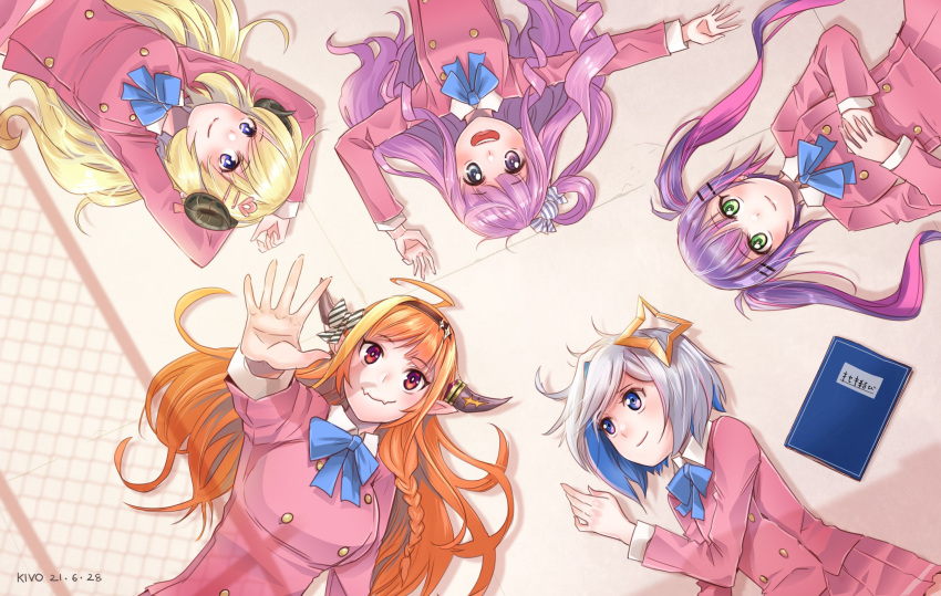 amane_kanata arms_behind_head blonde_hair breasts candy_hair_ornament colored_inner_hair dragon_girl dragon_horns drill_hair fangs food-themed_hair_ornament hair_ornament hairclip halo heterochromia highres himemori_luna holoforce hololive horns kiryu_coco kivo large_breasts long_hair lying medium_breasts multicolored_hair notebook on_back one_side_up open_mouth orange_hair pink_hair purple_hair red_eyes school_uniform shade sheep_girl sheep_horns short_hair silver_hair skin_fangs smile star_halo streaked_hair tokoyami_towa tsunomaki_watame twintails two-tone_hair violet_eyes virtual_youtuber