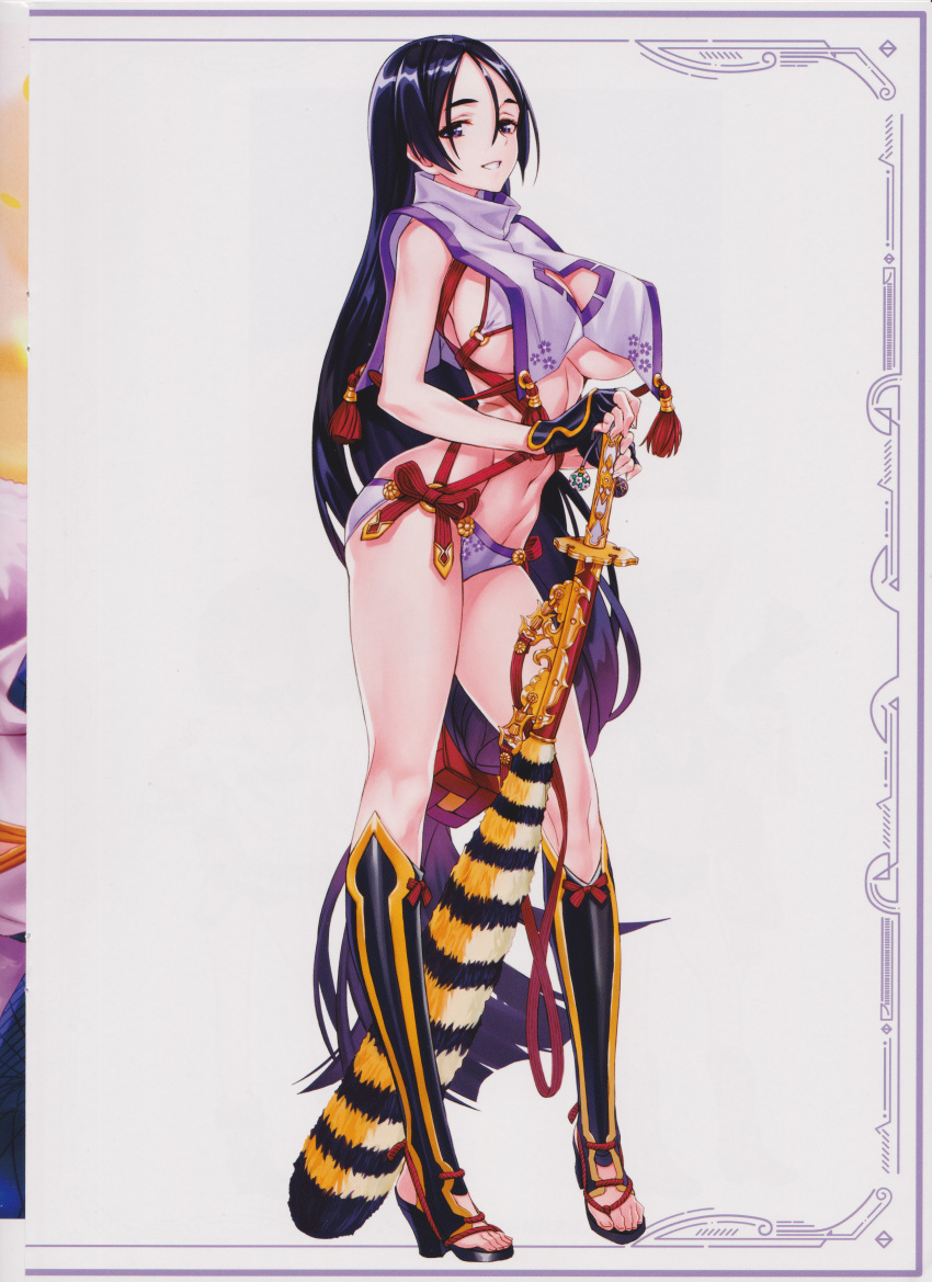 1girl absurdres bangs bikini breasts clothing_cutout fate/grand_order fate_(series) fingerless_gloves full_body gloves hair_ornament high_heels highres holding huge_filesize katana large_breasts long_hair looking_at_viewer low-tied_long_hair matsuryuu minamoto_no_raikou_(fate) minamoto_no_raikou_(swimsuit_lancer)_(fate) navel parted_bangs purple_hair scan sheath sheathed shiny shiny_hair simple_background smile solo standing stomach swimsuit sword thighs toeless_footwear toes very_long_hair violet_eyes weapon white_background